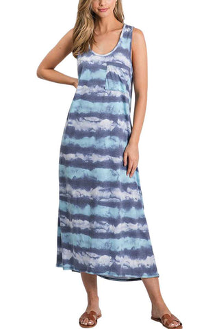 MULTI BLUE TIE DYE STRIPE SLEEVELESS MAXI DRESS