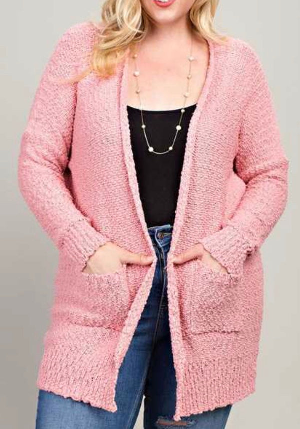 Pink blush open front cardigan Plus