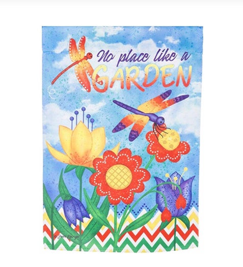 No Place Like a Garden suede garden flag