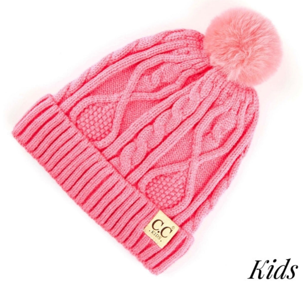 Kids New candy pink on pink CC beanie Pom