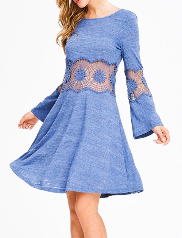 Dusty blue with lace crochet bell sleeve dress