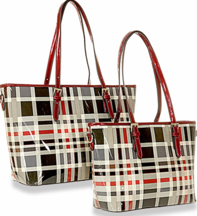 Patent Plaid Tote Set