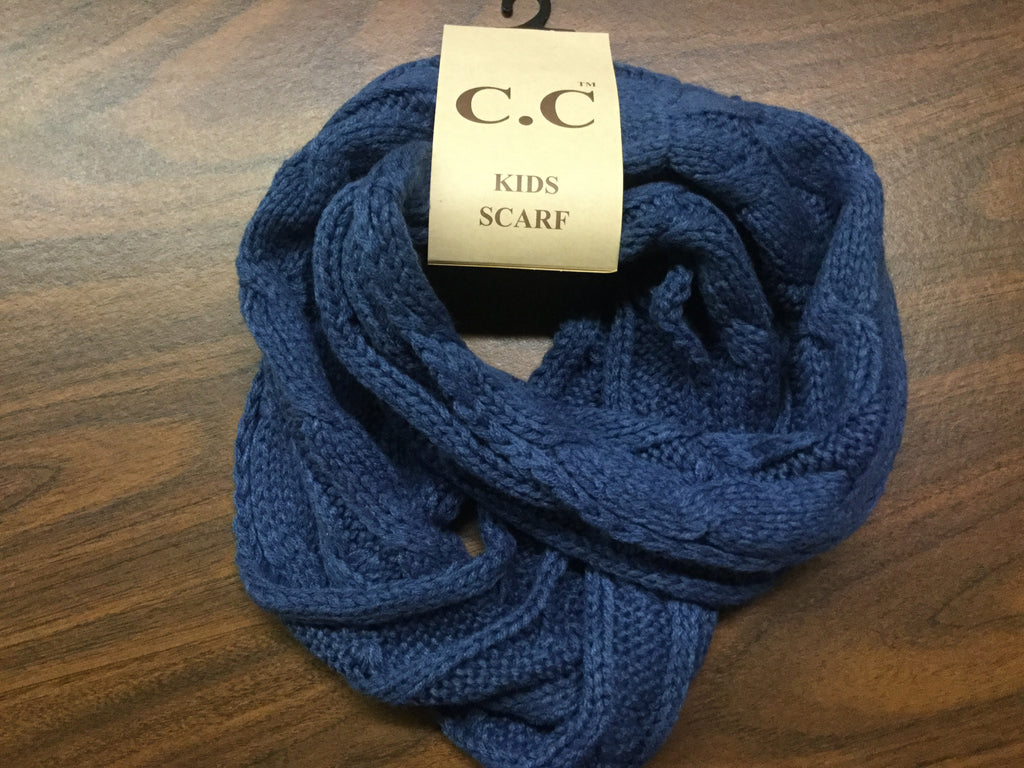 Kids Dark denim CC infinity scarf