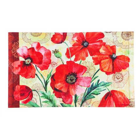 Poppies watercolor embossed outdoor mat