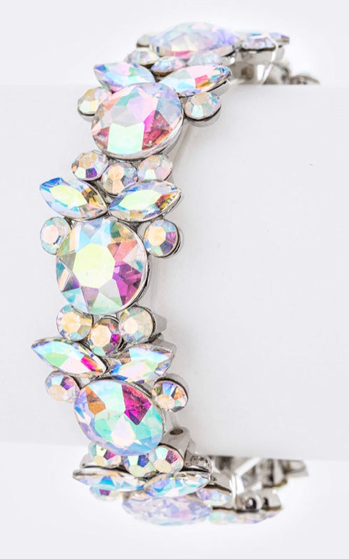 Crystal AB flower stretch bracelet