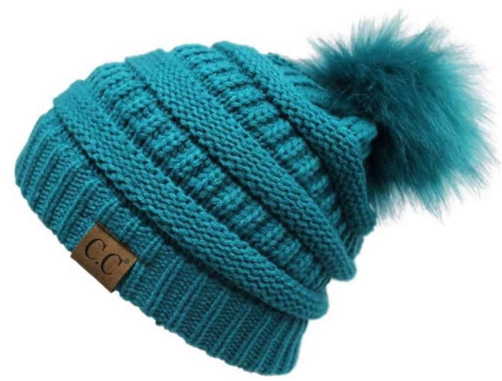 Teal CC beanie with teal pom