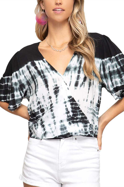 Black Tie Dye Half Sleeve Surplice Top