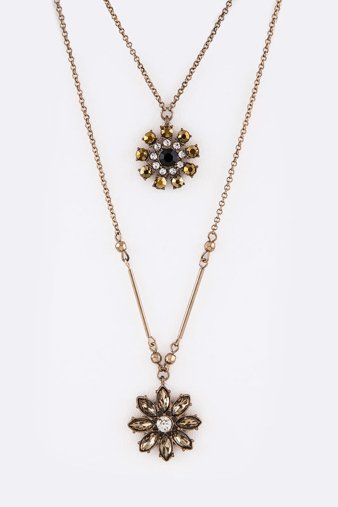 Crystal Flower Pendant Layer Necklace