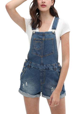 Distressed Denim Shorts Overall