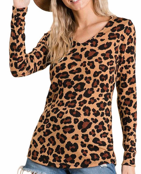 Leopard print V neck top