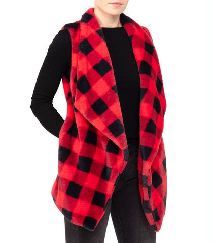 Red Soft Buffalo Plaid Vest w/Pocket