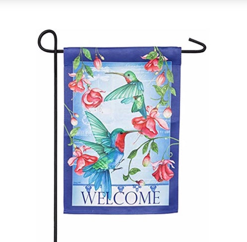 Hummingbirds suede garden flag