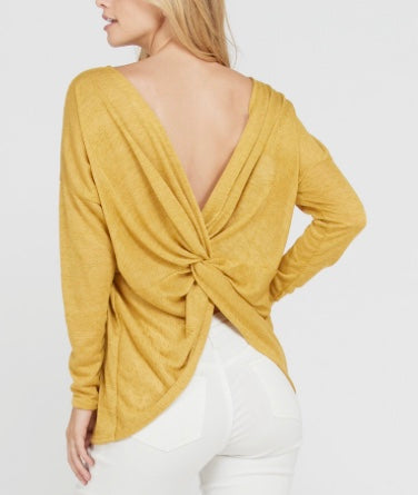 Mustard twist back top