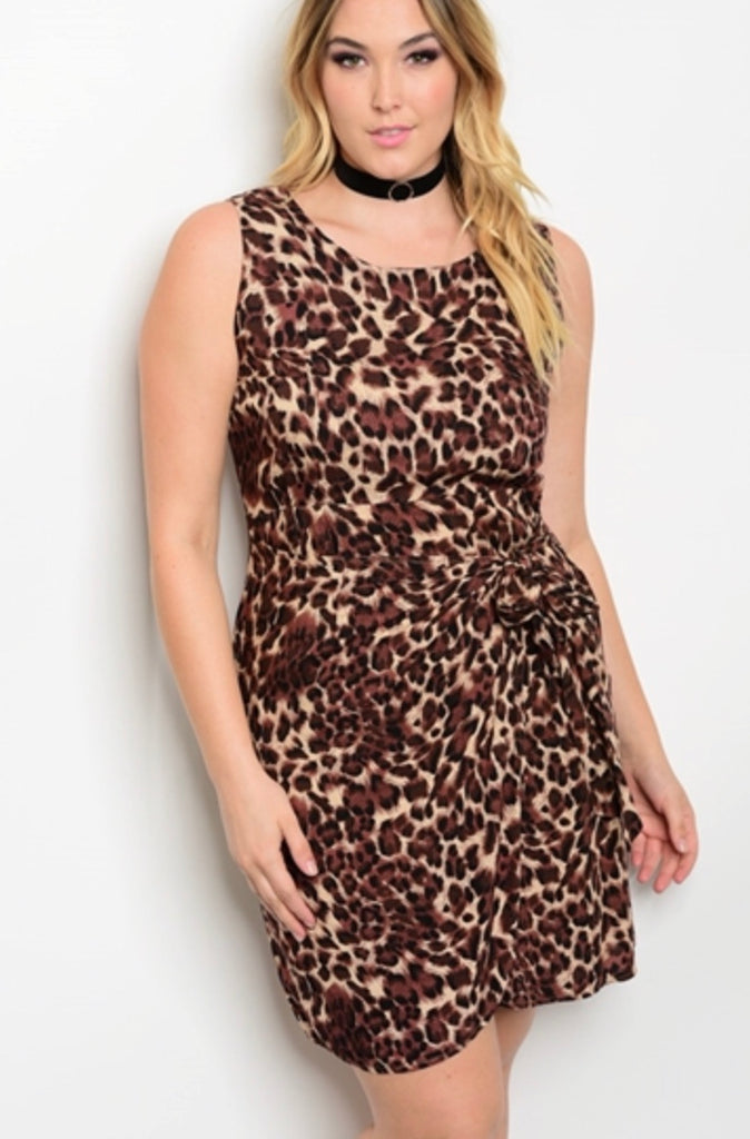 Leopard sleeveless dress PLUS size 3XL ONLY