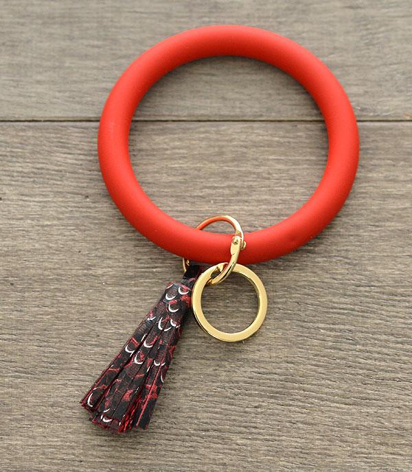 Red Snake Skin Tassel Bangle Keychain