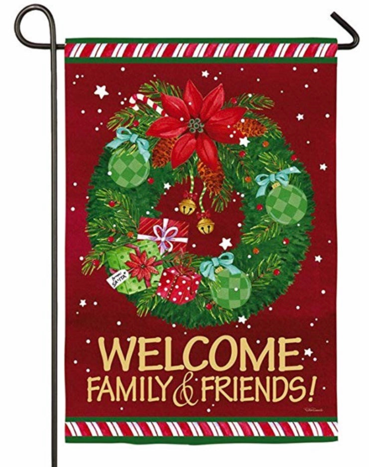 Christmas Wreath welcome friends Suede Garden Flag