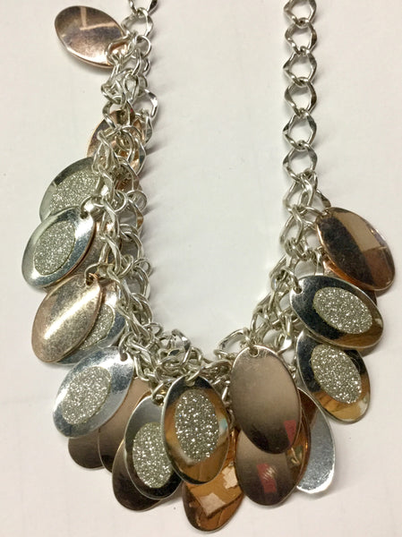 Chain link necklace set with rose gold and silver discs with paved rhinestone