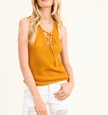 Mustard yellow knit sleeveless sweater
