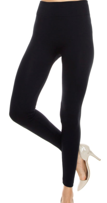 Black fleece high waist leggings