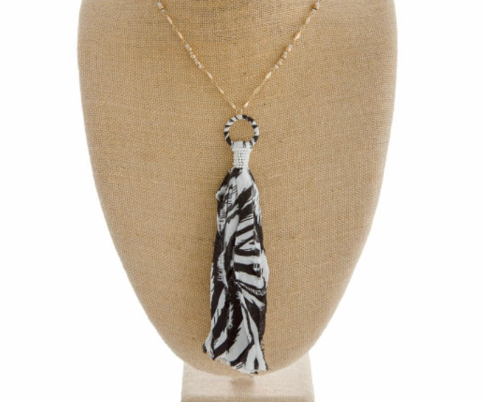 Zebra print fabric tassel necklace