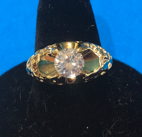 Men's vintage CZ gold design ring