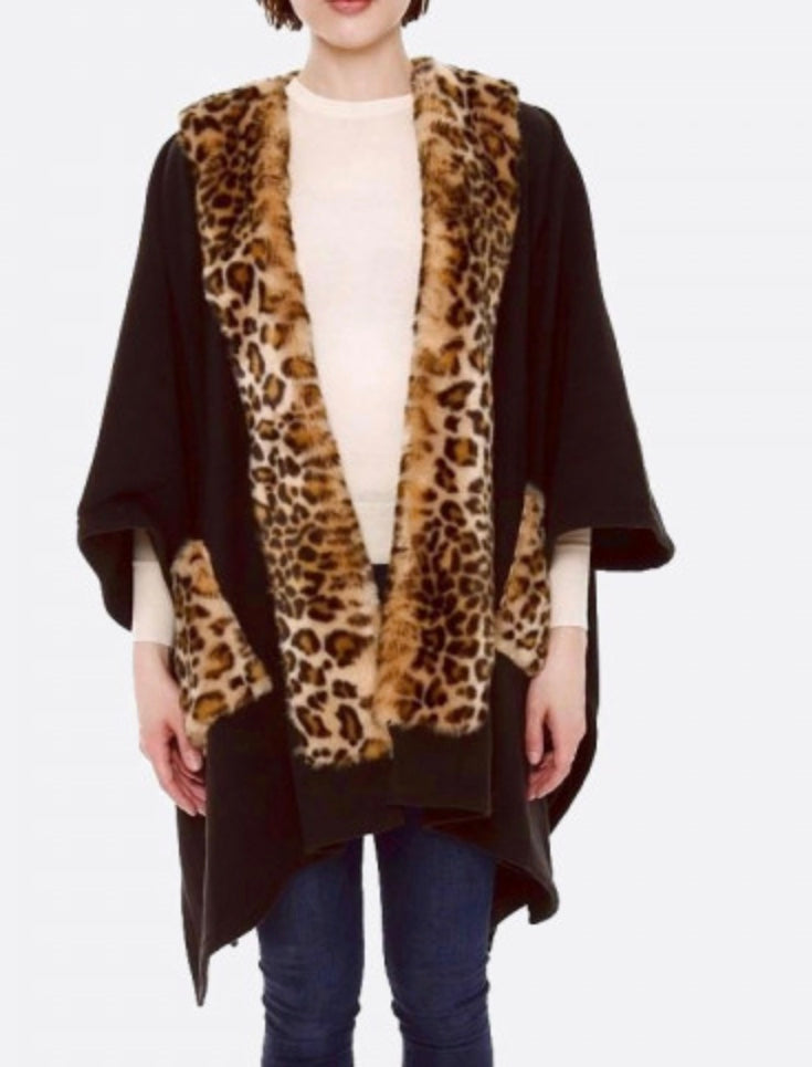 Black with leopard accents cape