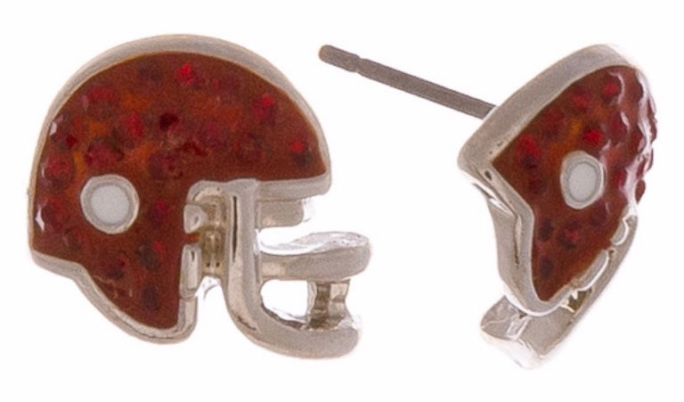 Burgundy Cz football earring