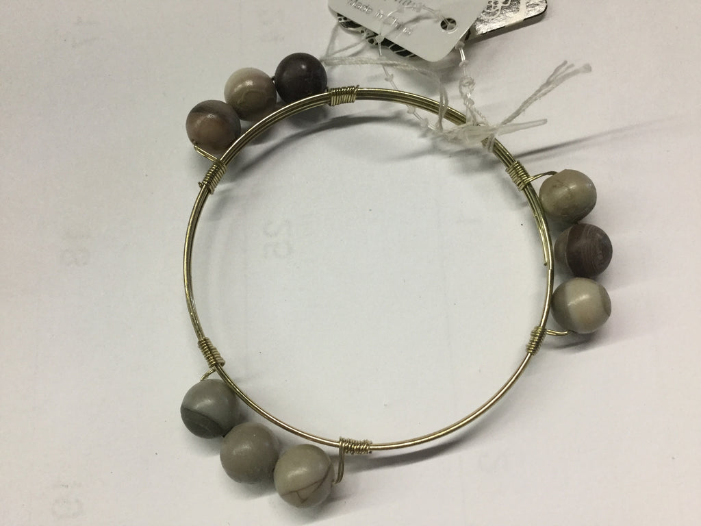 Gray wired bead bangle bracelet