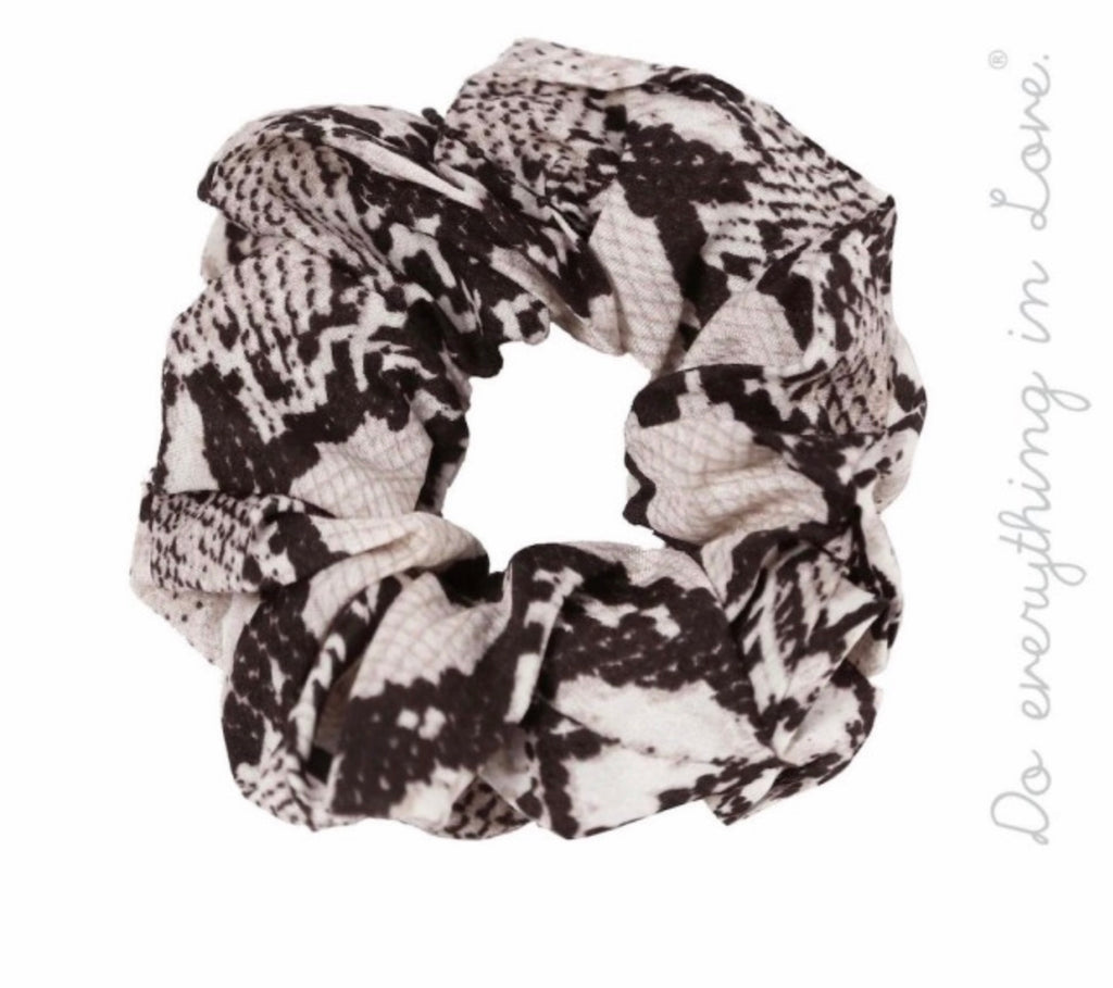 Black snakeskin hair scrunchie