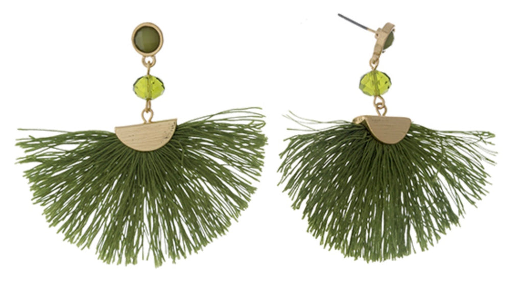 olive green fan tassel and a faceted bead accent Earrings
