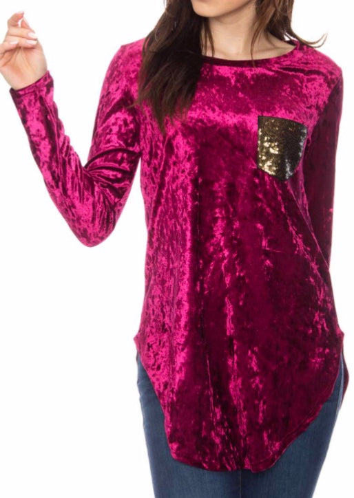 Burgundy velvet sequin pocket top
