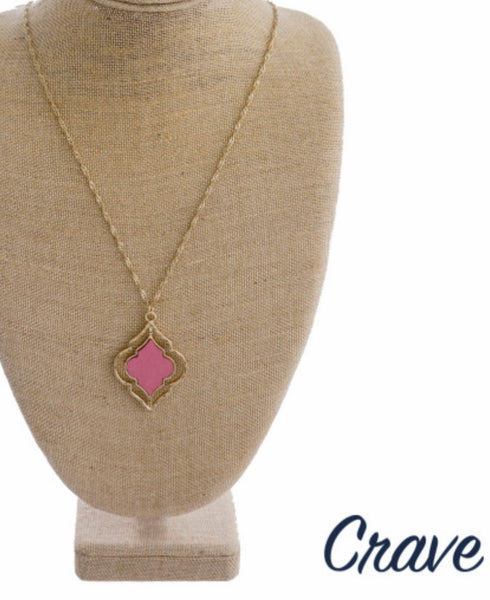 Pink lotus inspired pendant necklace