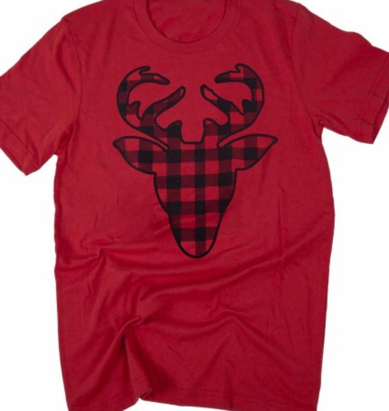 Red Plaid Deer T-shirt