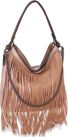 Mauve fringe and chain handbag