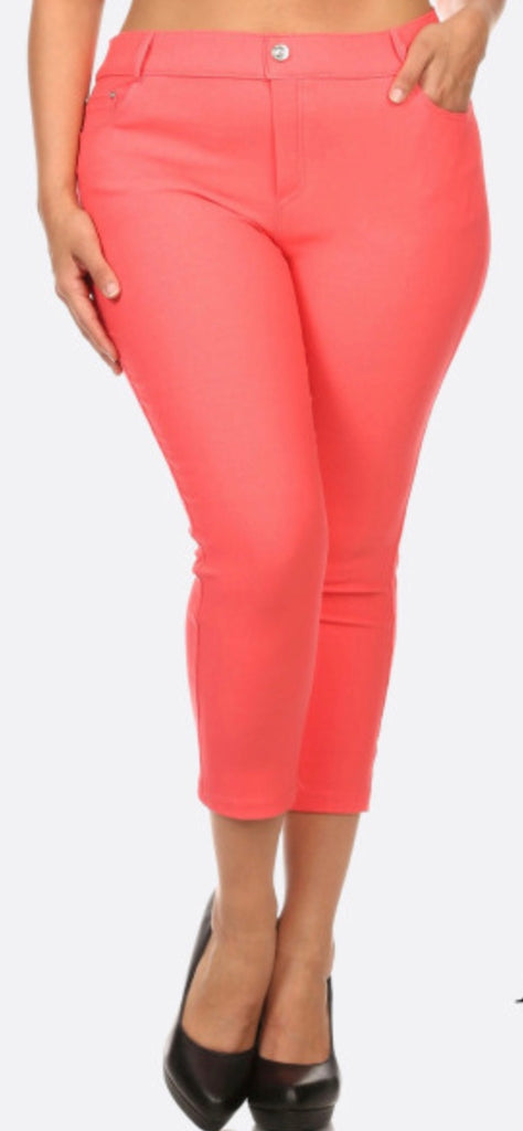 Coral Capri jeggings PLUS