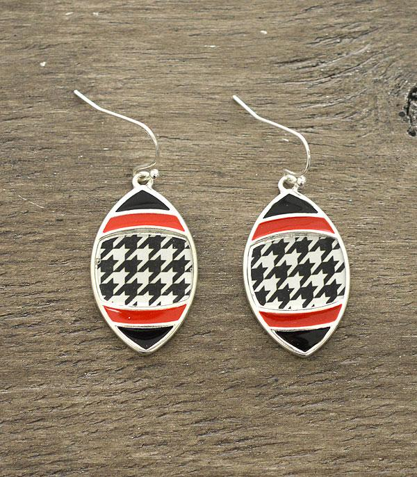 Houndstooth Football Helmet Earrings