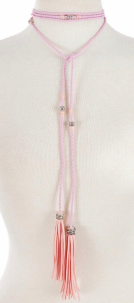 Light pink braided open neck wrap necklace