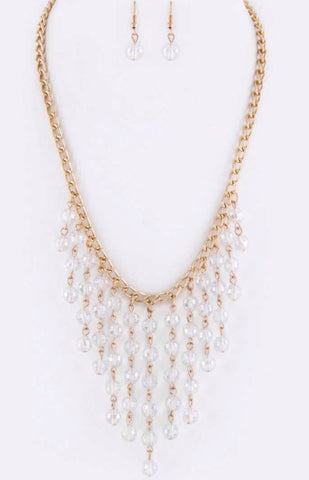 AB beaded fringe necklace set