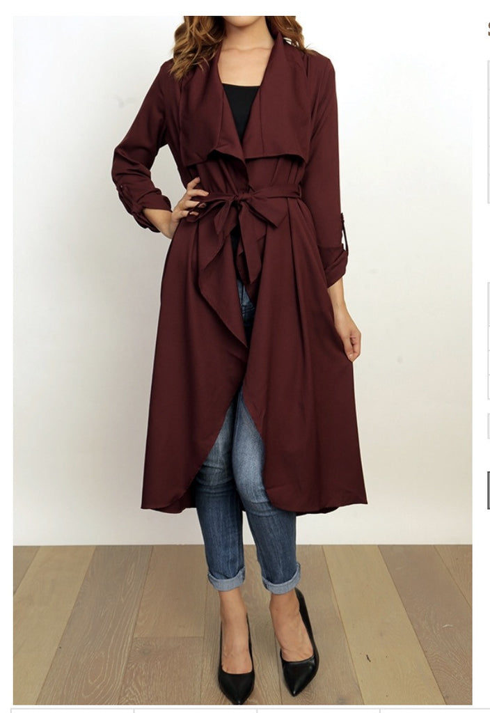 Burgundy duster with tie