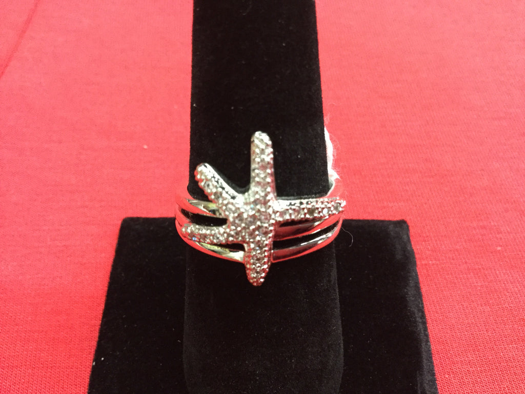 Ring starfish silver size 10