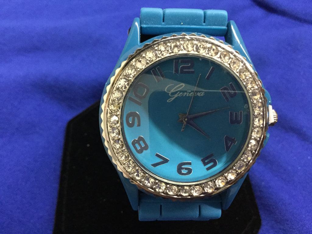 blue trimmed in silver and rhinestones watch