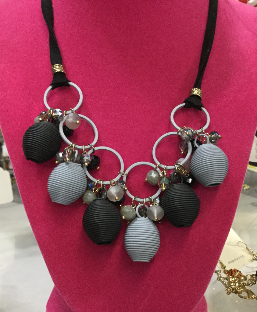 Necklace black and grey beehive shaped beads