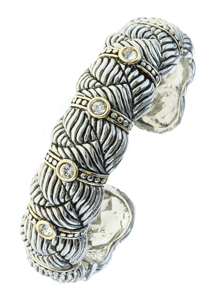 Silver gold etched jewel cable bracelet