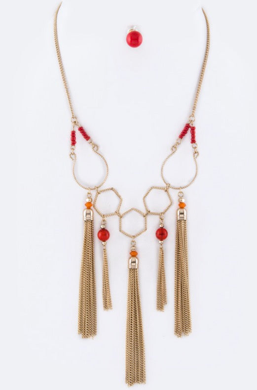 Coral beaded statement with Tassels Neck set