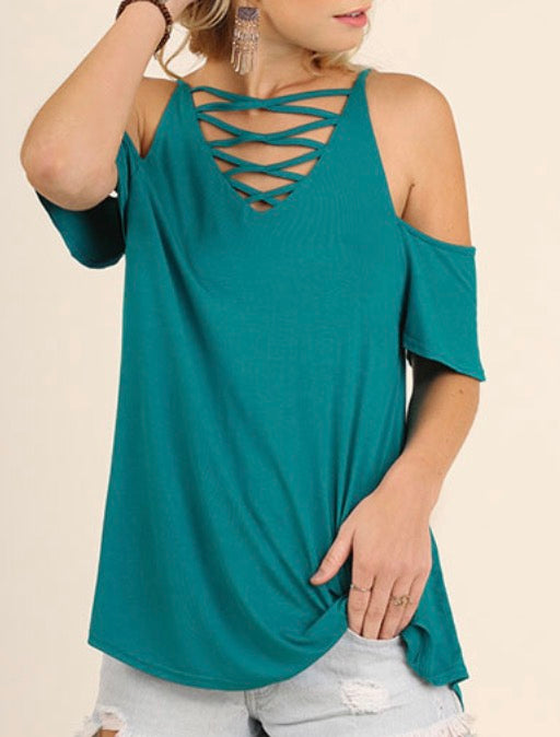 Jade criss cross v Neck open shoulder top