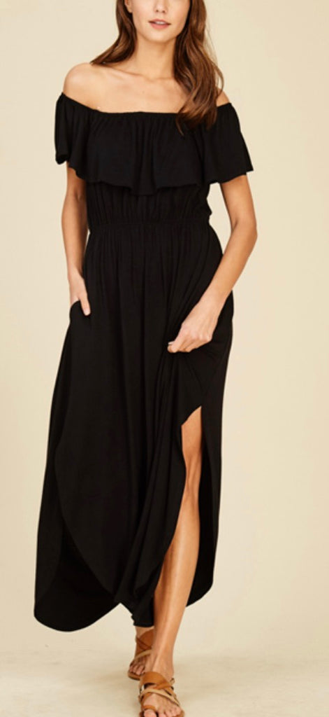 Black Ruffle off shoulder maxi dress with pockets PLUS