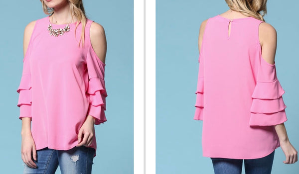 Pink cold shoulder top 1 small left!