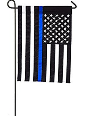 First responders Thin Blue police Line garden flag