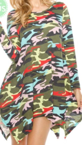 Camouflage printed asymmetrical plus size dress