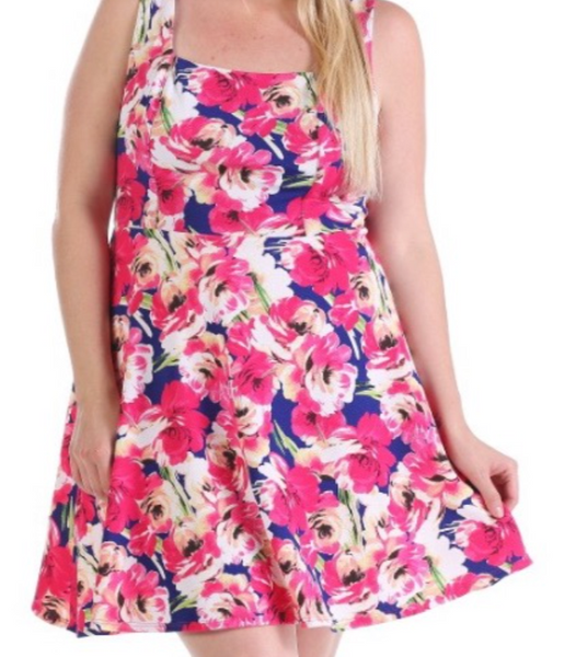 Royal blue navy and pink Floral swing dress PLUS